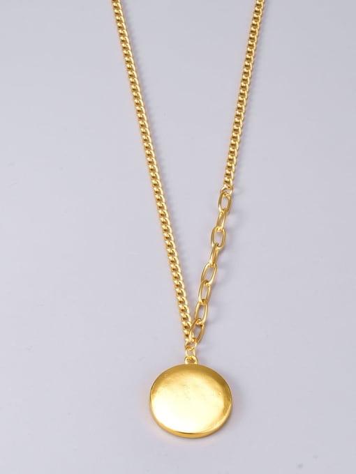 A TEEM Titanium Steel Letter Vintage Round Pendant Necklace 3