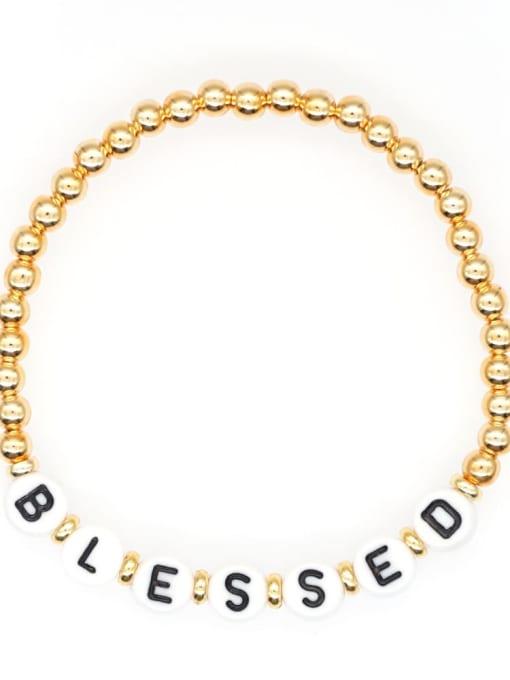 QT B200015J Stainless steel Bead Acrylic Letter Bohemia Beaded Bracelet