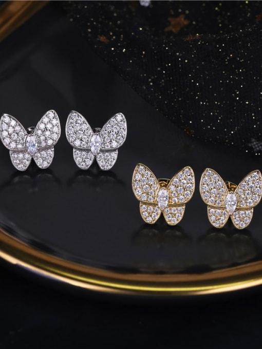 DUDU Brass Cubic Zirconia Butterfly Dainty Stud Earring 3