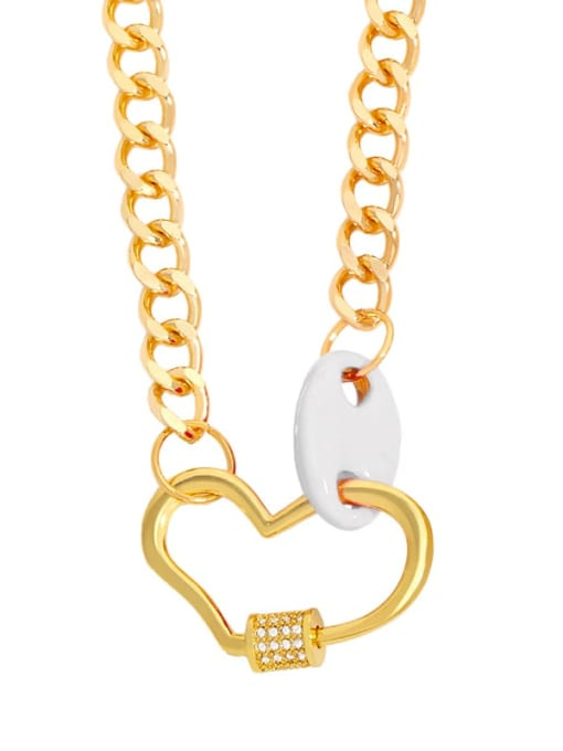 CC Brass Enamel Heart Hip Hop Hollow Chain Necklace 2