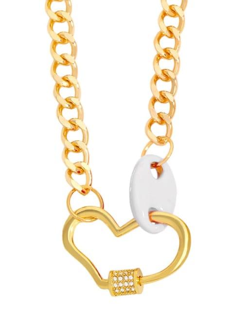 white Brass Enamel Heart Hip Hop Hollow Chain Necklace