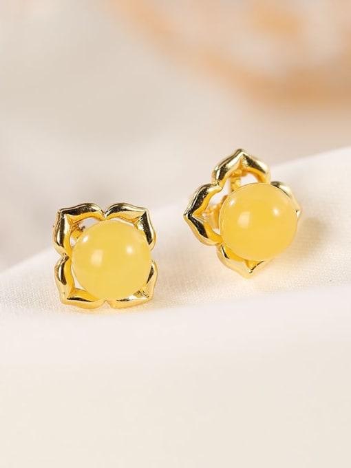 DEER 925 Sterling Silver Amber Flower Cute Stud Earring 0