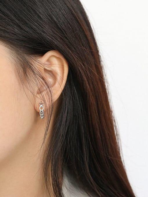DAKA 925 Sterling Silver Hollow Geometric Vintage Stud Earring 3
