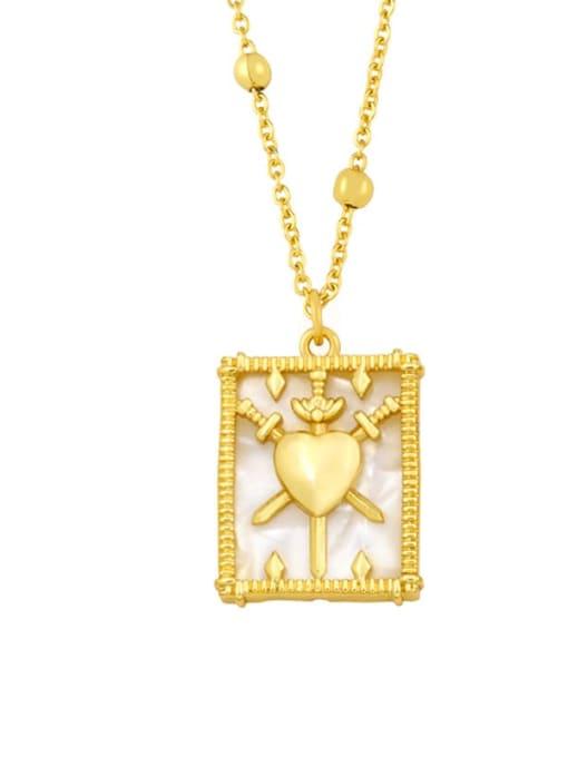 A Brass Shell Geometric Vintage Necklace