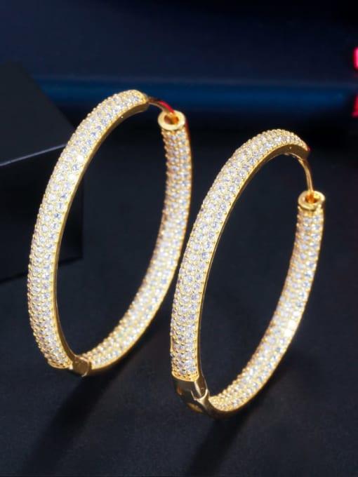 L.WIN Brass Cubic Zirconia Round Luxury Cluster Earring 3