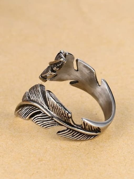 CONG Stainless steel Feather Vintage Band Ring 2