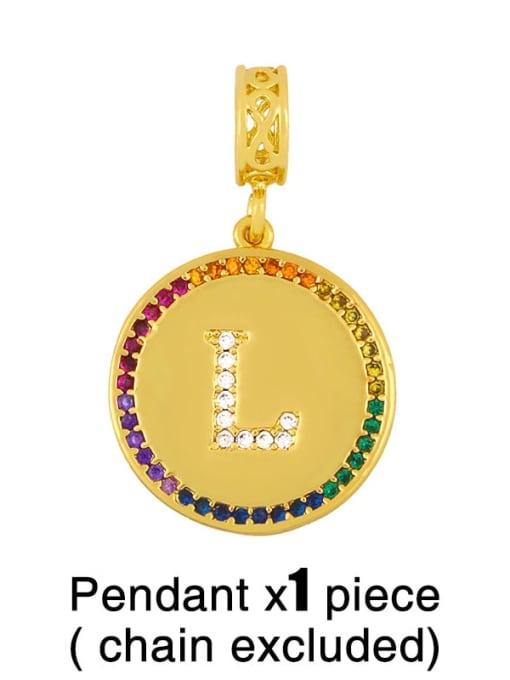 L (excluding chain) Copper Cubic Zirconia Rround Letter Minimalist Pendant