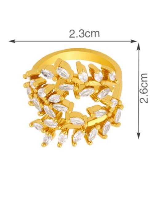 CC Brass Cubic Zirconia Leaf Vintage Band Ring 4