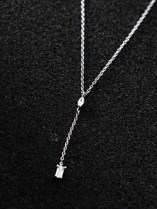 Rosh 925 Sterling Silver Cubic Zirconia Geometric Minimalist Necklace 0