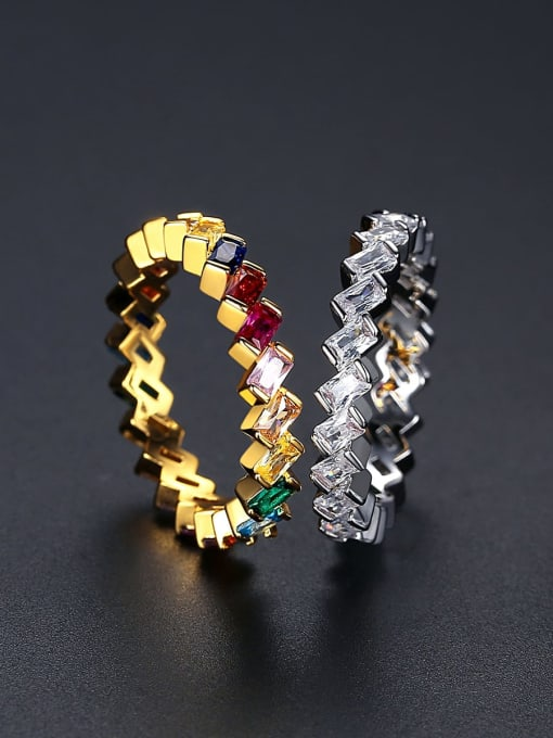 BLING SU Brass Cubic Zirconia Geometric Minimalist Band Ring 3