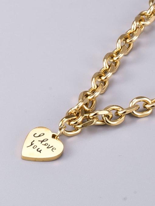 A TEEM Titanium Steel Heart Vintage Geometric  Chain Necklace 4