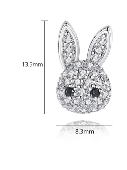 BLING SU Copper Cubic Zirconia rabbit Luxury Stud Earring 3