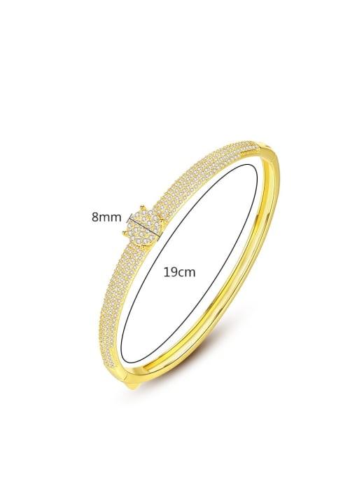 BLING SU Brass Cubic Zirconia Round Luxury Band Bangle 3