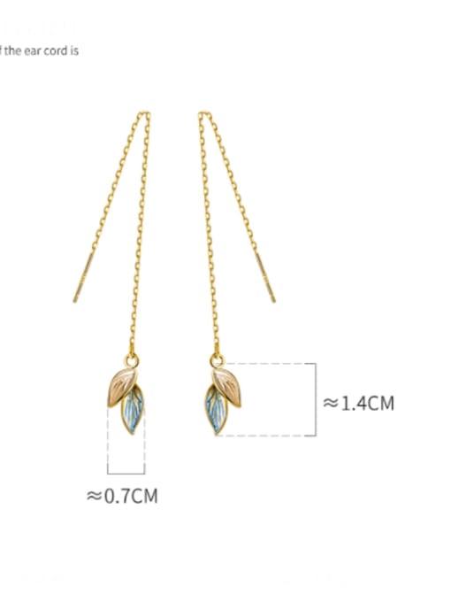 Rosh 925 Sterling Silver Cubic Zirconia Leaf Minimalist Threader Earring 4