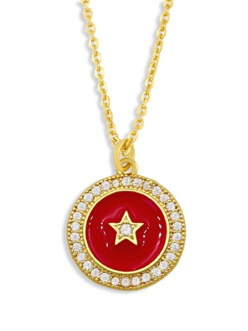 CC Brass Cubic Zirconia Enamel Star Ethnic Necklace 0