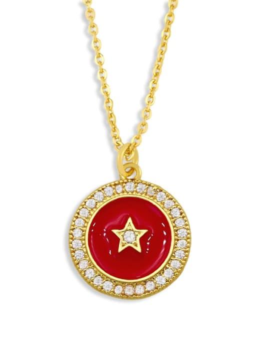 gules Brass Cubic Zirconia Enamel Star Ethnic Necklace