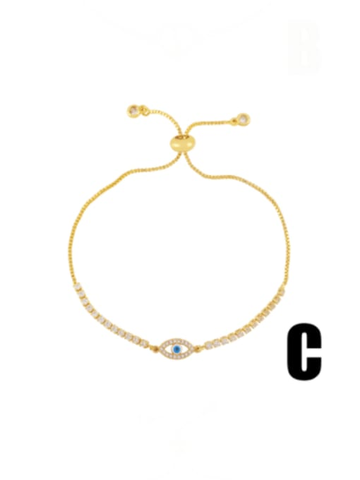 C Brass Cubic Zirconia Evil Eye Vintage Adjustable Bracelet