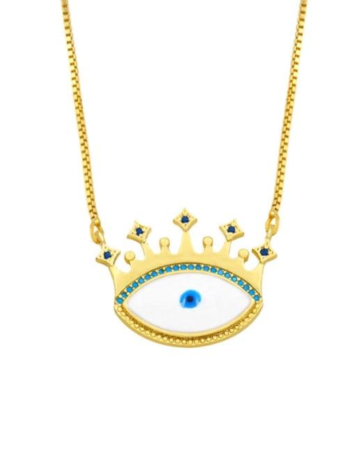 CC Brass Cubic Zirconia Evil Eye Hip Hop Necklace 1