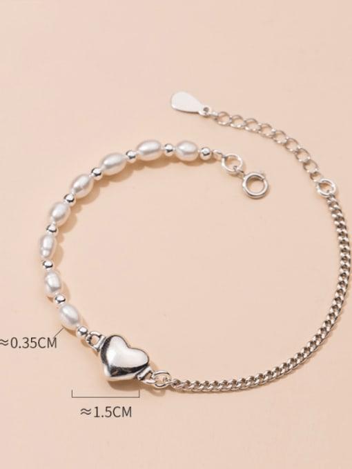 Rosh 925 Sterling Silver Freshwater Pearl Heart Minimalist Link Bracelet 2