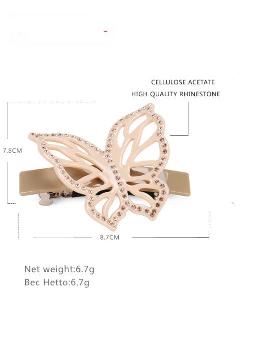 grey Cellulose Acetate Cute Butterfly Zinc Alloy Rhinestone Hair Barrette