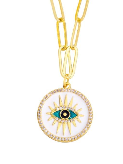 B Brass Cubic Zirconia Enamel Evil Eye Hip Hop Necklace