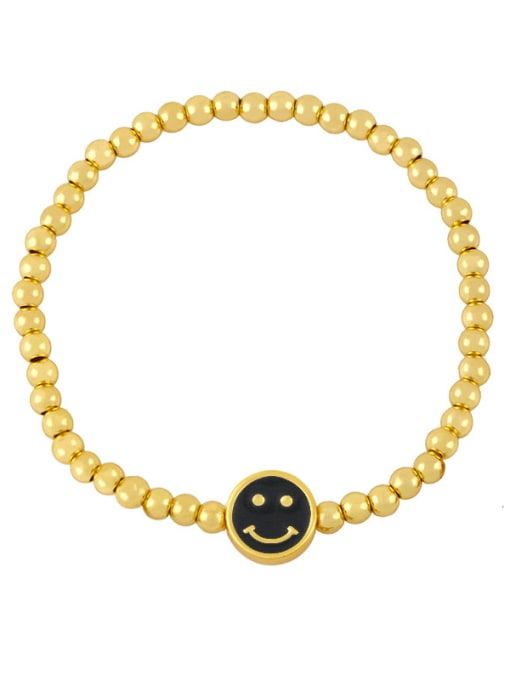F (black) Brass Enamel Smiley Vintage Beaded Bracelet