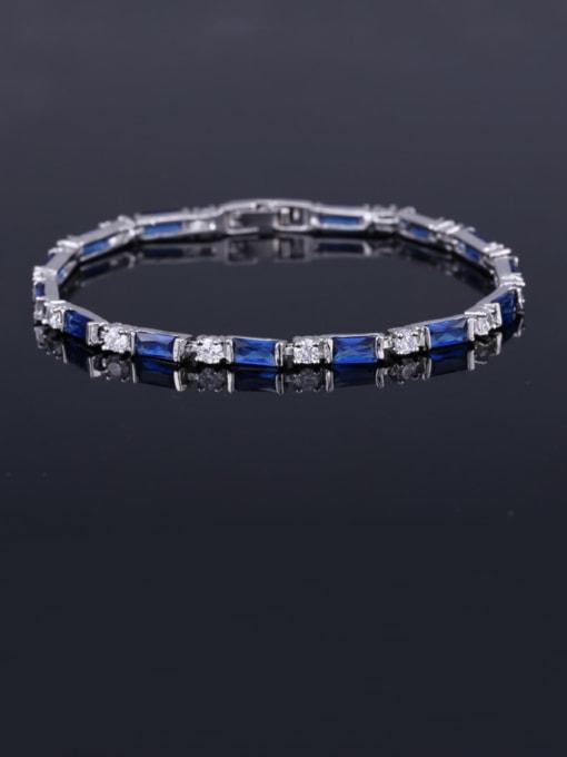 Dark blue 17.5+ 2.2cm Brass Cubic Zirconia Geometric Classic Bracelet