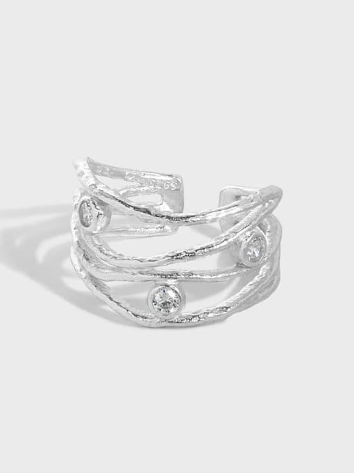 DAKA 925 Sterling Silver Cubic Zirconia Irregular Vintage Stackable Ring 3