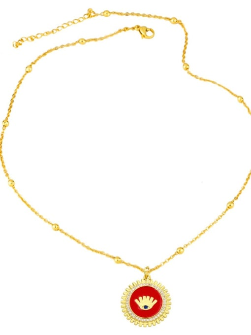 CC Brass Rhinestone Enamel Round Hip Hop Necklace 3