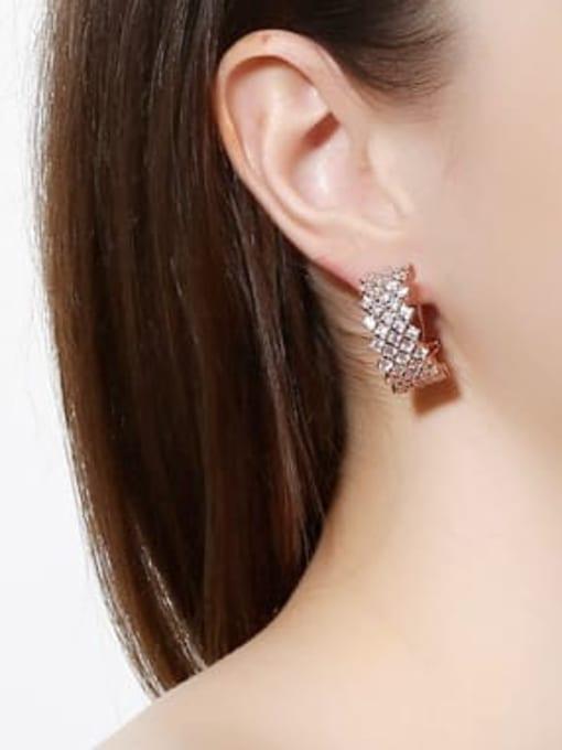 L.WIN Brass Cubic Zirconia Geometric Statement Stud Earring 1