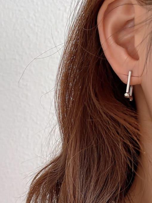 Boomer Cat 925 Sterling Silver Geometric Minimalist Stud Earring 3