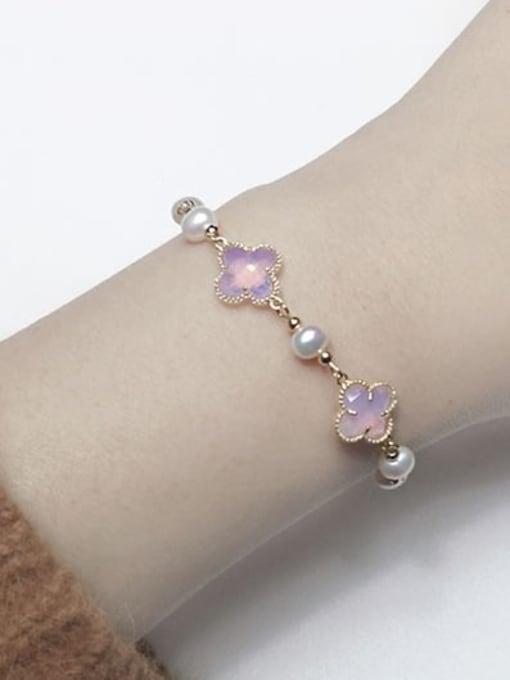 RAIN Brass Glass Stone Clover Minimalist Bracelet 1