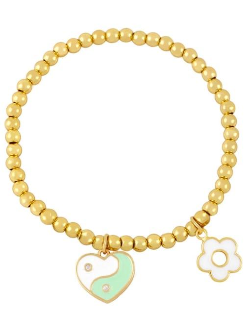 CC Brass Enamel Evil Eye Minimalist Beaded Bracelet 2