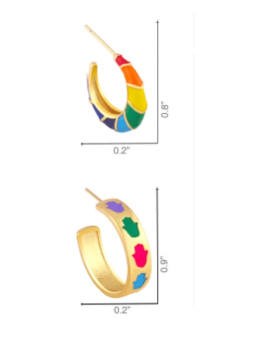 CC Brass Enamel Rainbow Hip Hop Stud Earring 4