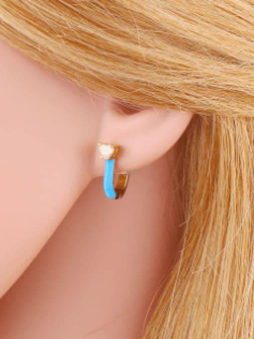 CC Brass Multi Color Enamel Heart Vintage Huggie Earring 1