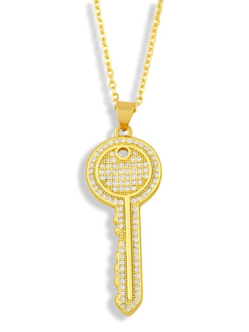 CC Brass Cubic Zirconia Key Hip Hop Pendant Necklace 1