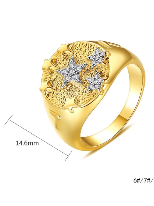 BLING SU Copper Two-color plating Geometric Vintage Band Ring 3