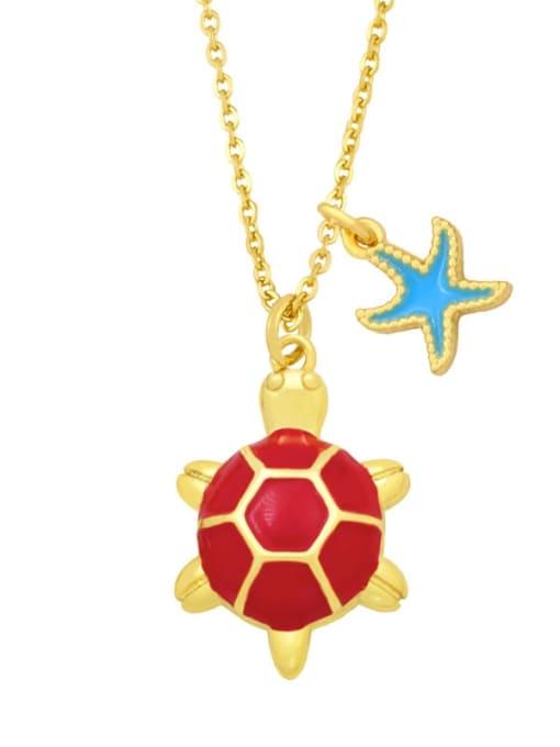 B (Rose) Brass Enamel Star Vintage tortoise Pendant Necklace