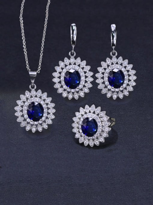 Royal Blue Ring Size 7 Brass Cubic Zirconia  Dainty Geometric Earring Ring and Necklace Set