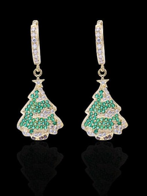 Luxu Brass Cubic Zirconia Tree Minimalist Huggie Earring