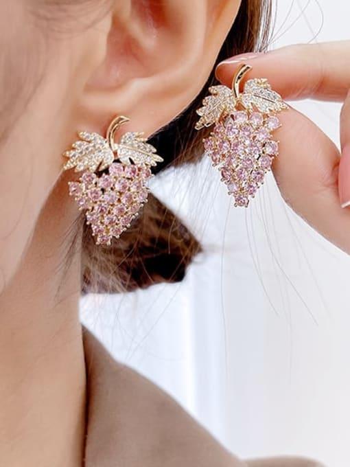 Luxu Brass Cubic Zirconia Friut Trend Stud Earring 2