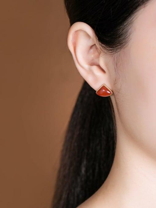 DEER 925 Sterling Silver Carnelian Triangle Minimalist Stud Earring 1
