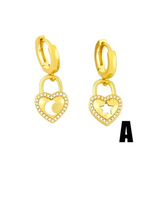 A Brass Cubic Zirconia Star Vintage Huggie Earring