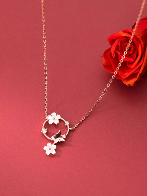 Rosh 925 Sterling Silver Shell Flower Minimalist Necklace