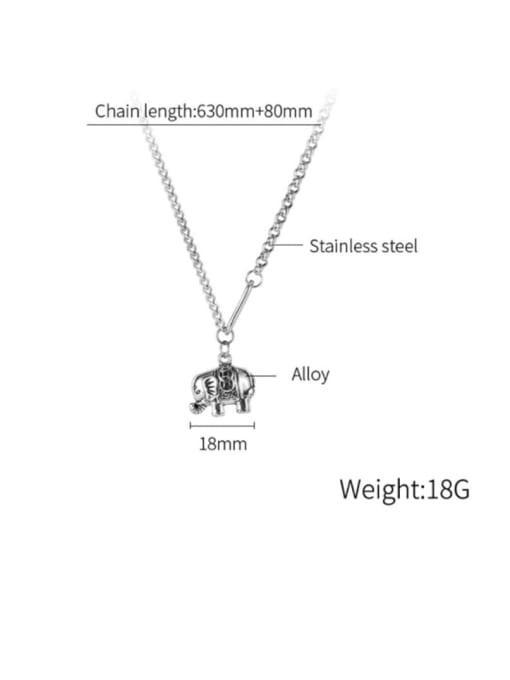 Open Sky Titanium Steel Elephant Vintage Long Strand Necklace 3