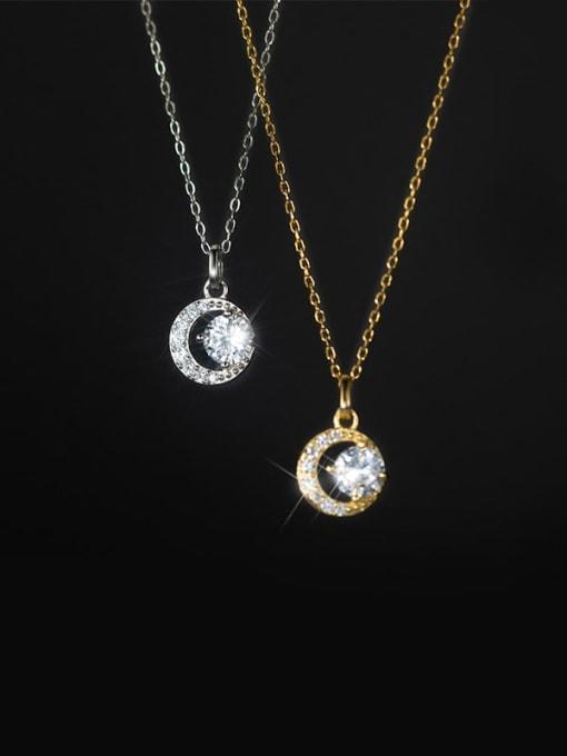 Rosh 925 Sterling Silver Cubic Zirconia Round Minimalist Necklace 0