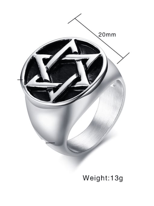 CONG Titanium Steel  Vintage Five-pointed star  Band Ring 1