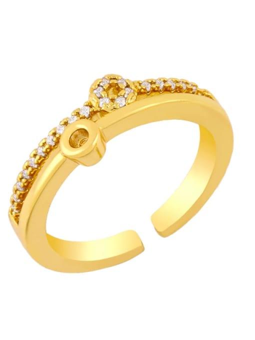 CC Brass Rhinestone Round Vintage Band Ring 1