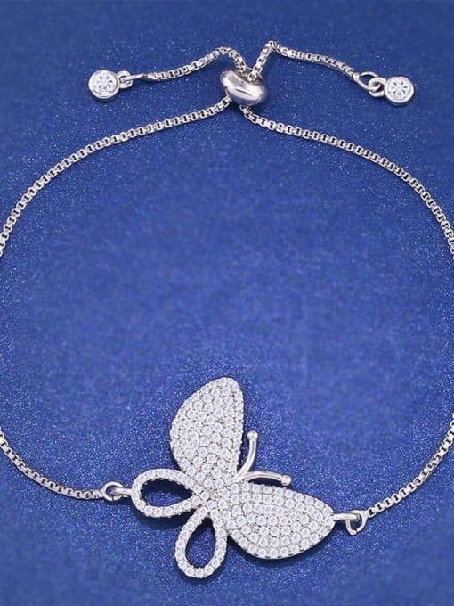 steel Brass Cubic Zirconia Butterfly Dainty Adjustable Bracelet