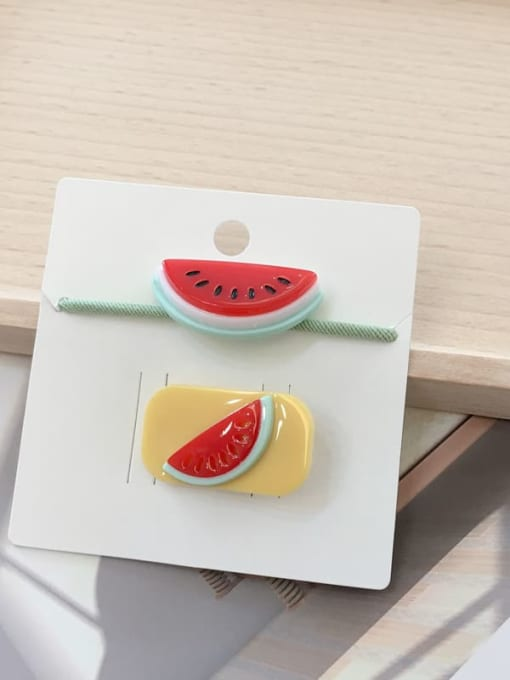 24 watermelon Alloy Acrylic Cute Children cartoon animal fruit Hairpin Rubber band Set